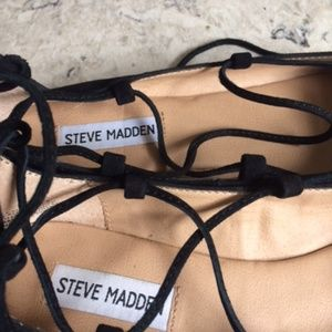 Steve Madden Shoes - Never Worn Black Suede Flat lace up shoes  Size 7.